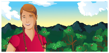 woman outdoors coffee field vector illustration Imagens - 31688594