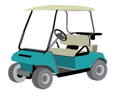 golf car blue illustration vector isolated Vector