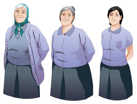 personas mayores: Aislado mujer mayor feliz sonriendo conjunto ilustración vectorial Vectores