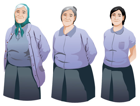 wrinkled face: Happy senior woman smiling set illustration vector isolated