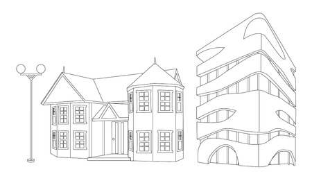 house and building in lines cartoon illustration vector isolated
