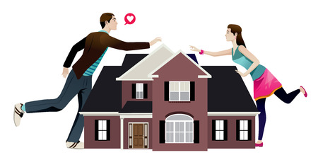 couple fight: couple coflict separation by distance illustration vector isolated