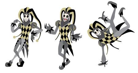 Aislado Feliz Joker posiciones establecidas de dibujos animados ilustración vectorial