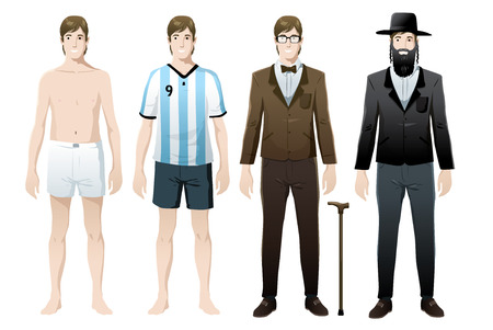 set man in costumes vector isolated