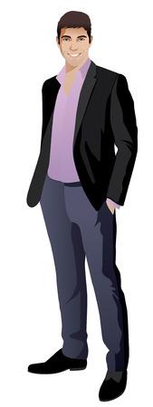 cuerpo entero: Retrato de cuerpo entero de feliz hombre de negocios sonriente, aislado en blanco vector, ilustración, Vectores