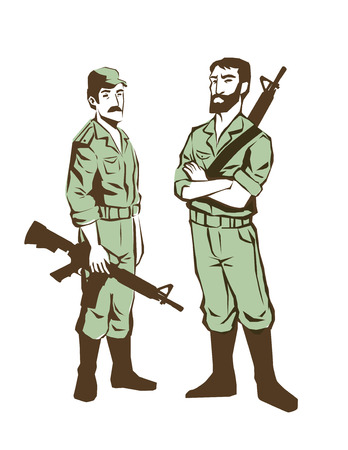 soldiers with guns vector isolated