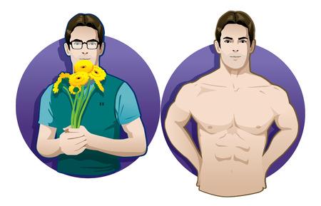 romantic nerd and muscle man vector isolated Ilustração