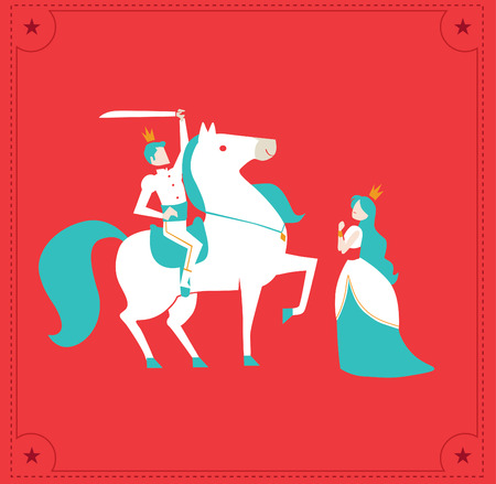 princess and prince with horse vector fairy tale