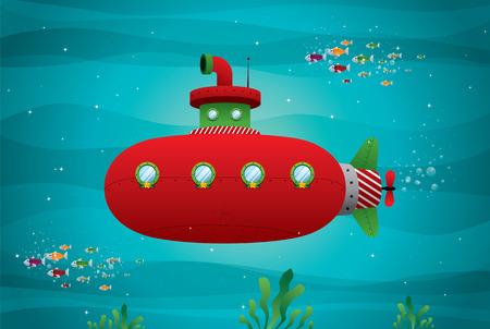 red submarine in the ocean vector illustration Vector