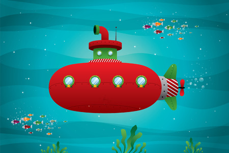 red submarine in the ocean vector illustration