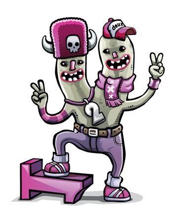 happy monster cartoon two heads vector isolated Ilustração