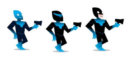 funny icon space superhero with gun vector isolated