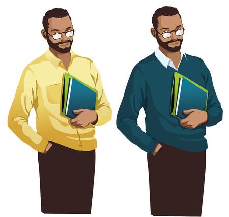 leraar Permanent lacht geïsoleerd Holding boeken illustratie vector
