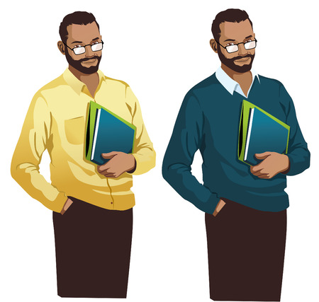 teacher Standing Smiling Holding books illustration vector isolated