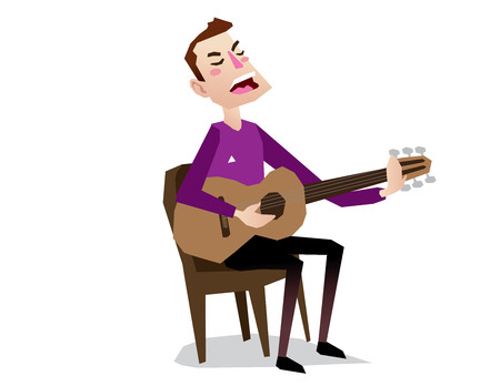 playing guitar: man singing playing guitar sitting in chair cartoon isolated vector illustration full body Illustration
