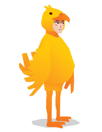 carnival costume: man costume chicken cartoon isolated vector illustration full body