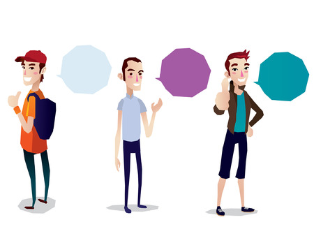 Speech Bubble teenage boy set cartoon isolated illustration full body Vector
