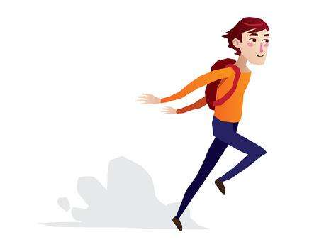 teen boy running cartoon isolated illustration full body Ilustração