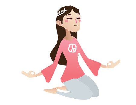 Hippie girl meditation cartoon isolated illustration full body Imagens - 31816407