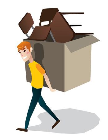 carrying box: Hombre que lleva el rect�ngulo pesado aislado Ilustraci�n de cuerpo completo de dibujos animados Vectores