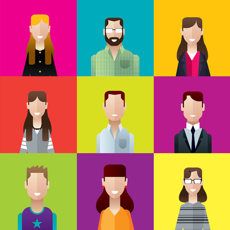 flat icons office people men and women characters illustration set