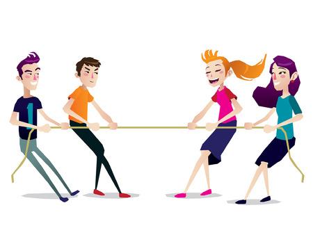 Krieg Schlepper Spiel Kinder Teenager isoliert Illustration Vektorgrafik