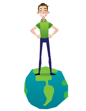 top of the world: man standing in top of the world proud and happy illustration isolated full body