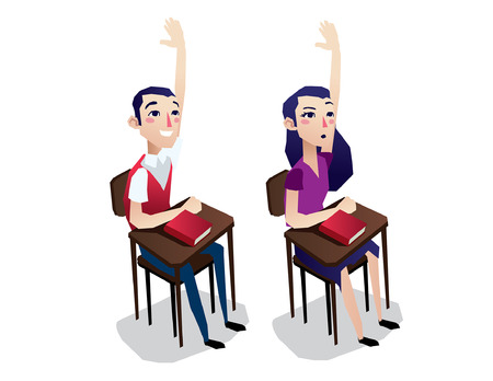 smart girl: students desk boy and girl cartoon sit isolated illustration full body