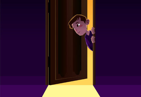boy sneaking out the door of a room illustration Illustration