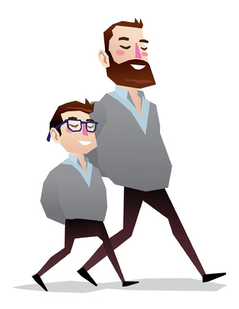 me: father and son clone or teacher and student isolated illustration full body Illustration