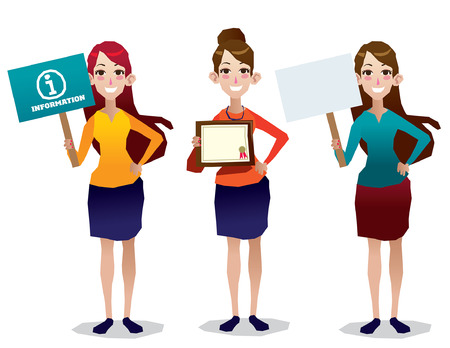 full body woman: woman holding billboard , information board and certificate set and illustration isolated full body Illustration