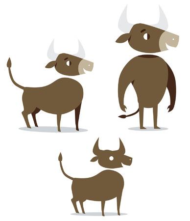 Bull cartoon happy cute icon illustration  Ilustração