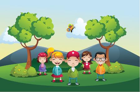 子供の男の子と女の子の漫画公園イラスト