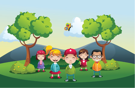 spring landscape: Cartoon park illustration with kids boys and girls Illustration