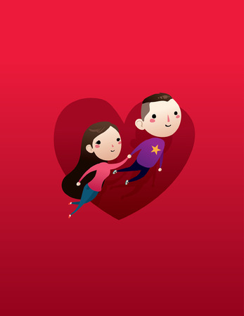 happy couple: love couples valentine fly red heart cartoon illustration  Illustration