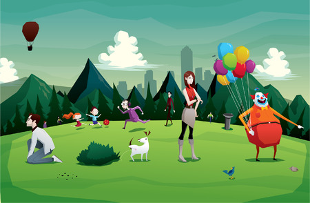 cartoon dog: Cartoon park city illustration with people