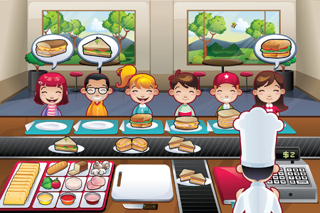 modern interior: Restaurant with boys girls kids cartoon indoor illustration fast food chef