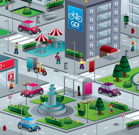 City isometric with building people streets and cars illustration