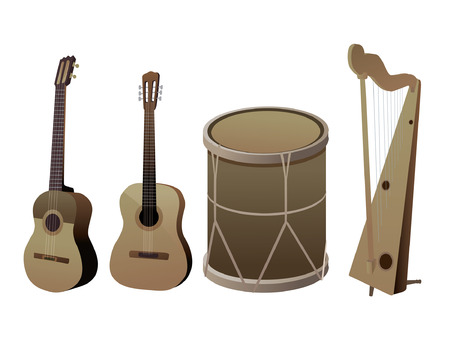 acoustic ukulele: Instrument Acoustic set Ukulele bass drum harp Guitar illustration isolated