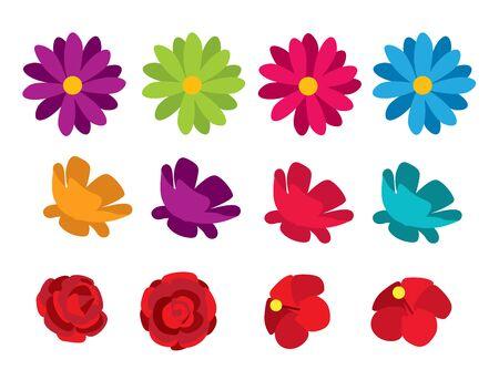 flowers isolated set