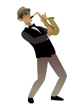 man playing saxophone blues music retro
