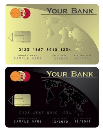 Credit card Black Gold Vector