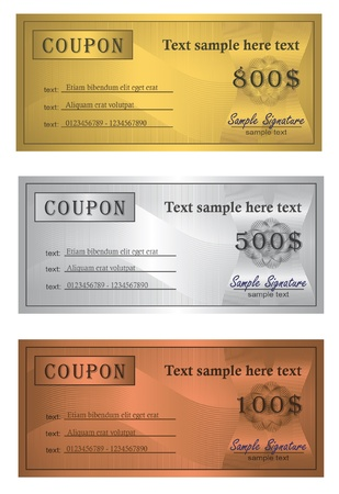 Coupon trio Gold Silver Bronze Vector