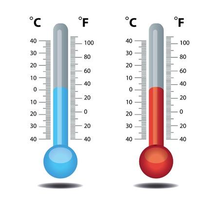 termometro: term�metro rojo azul Vectores