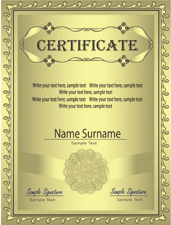 quantity: Certificate Gold frame vector Illustration