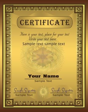 Certificate Gold Vertical vector Vector