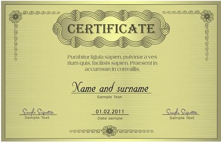 wavelet: Certificate gold ornament