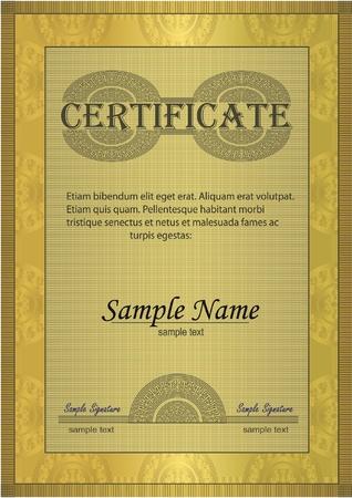 Certificate gold ornament frame