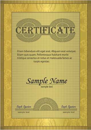 Certificate gold ornament frame Vector