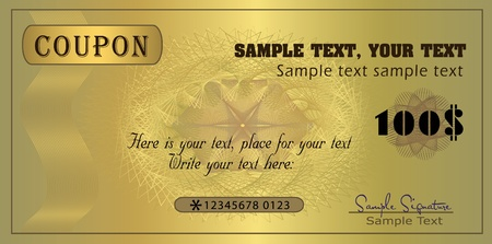 Coupon gold, template vector Illustration
